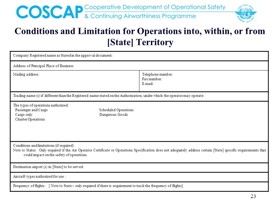 Conditions and Limitation for Operations into, within, or from [State] Territory